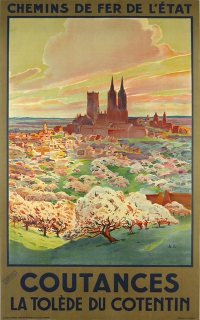 Coutances - La Tolède du Cotentin original poster designed by H.C.