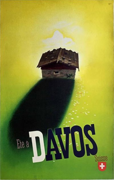Summer in Davos original poster designed by Trapp, Willy (1905-1984)