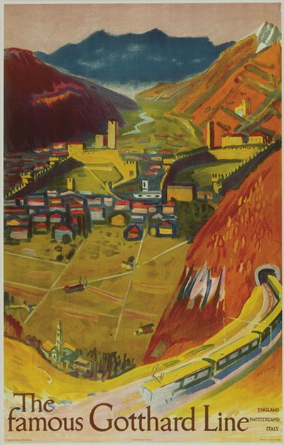 The Famous Gotthard Line poster designed by Pfister, Albert (1884-1978)