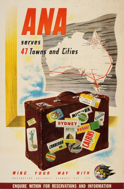 ANA Australian National Airways original poster designed by Skate, Ronald Clayton (1913-1991)