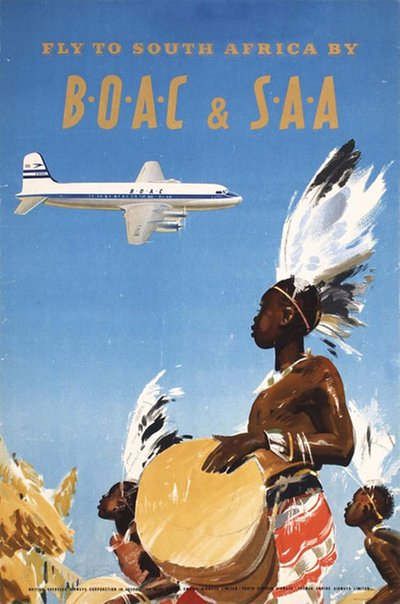 BOAC & SAA to South Africa original poster designed by Wootton, Frank (1911-1998)