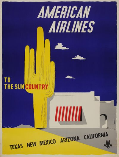 American Airlines to the sun country original poster designed by Kauffer, Edward McKnight (1890-1954)