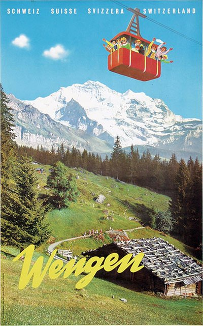 Wengen original poster designed by Photo. Burch