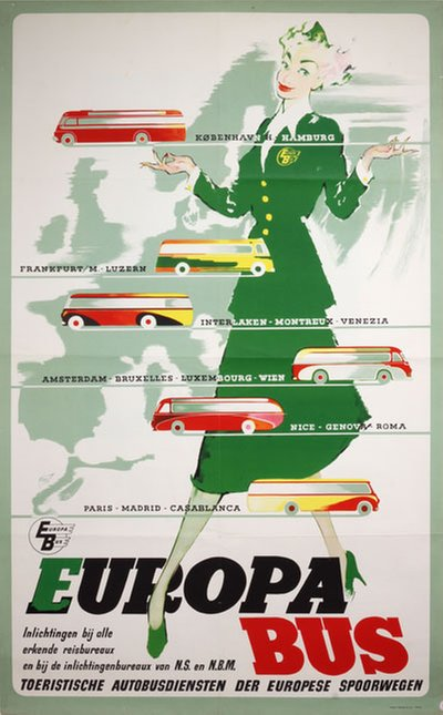 Europa Buss original poster designed by Nielsen, Otto (1916-2000)