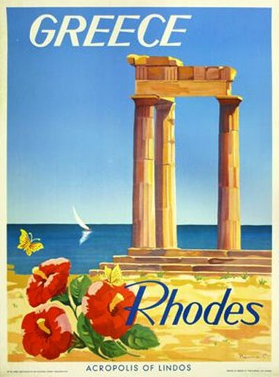 Greece, Rhodes, Acropolis of Lindos original poster designed by Neuna C
