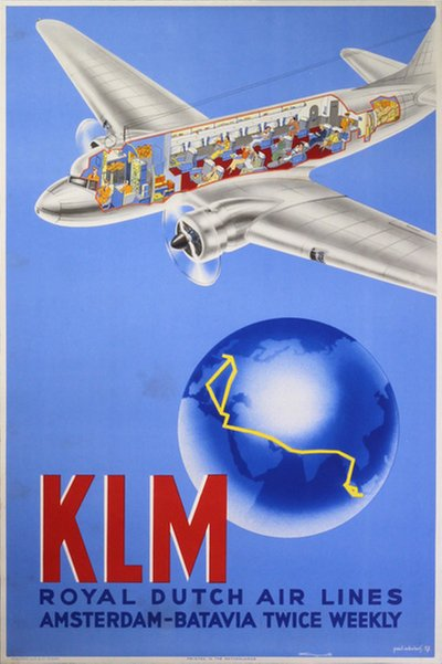 KLM original poster designed by Erkelens, Paul C. (1912-?)