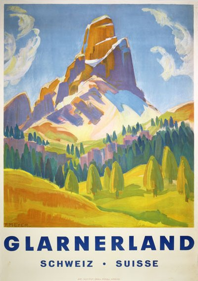 Glarnerland Switzerland Suisse original poster designed by Meyer, Fritz