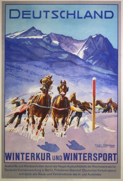 Deutschland Winterkur und Wintersport original poster designed by Osswald, Eugen (1879-1960)