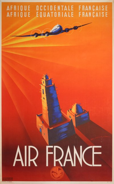 Air France - Afrique Occidentale Française original poster designed by Maurus, Edmond