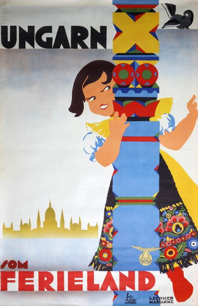 Hungary - Ungarn original poster designed by Lechner Marianne