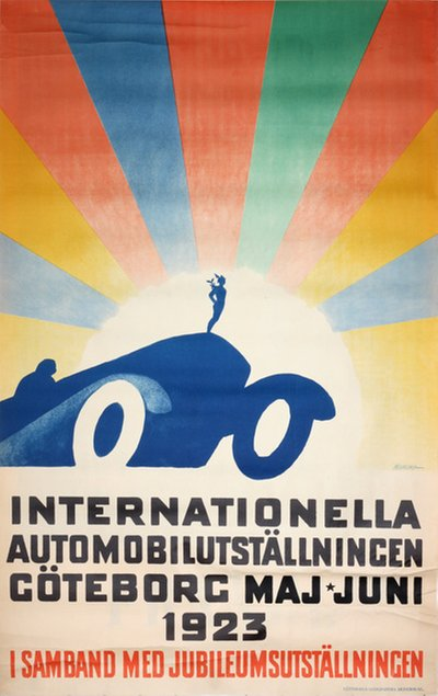 Internationella Automobilutställning Göteborg 1923 Sweden original poster designed by Meurling, Carl (1879-1929)