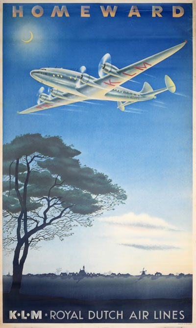 Homeward KLM original poster designed by Erkelens,  Paul C.  (1912-)