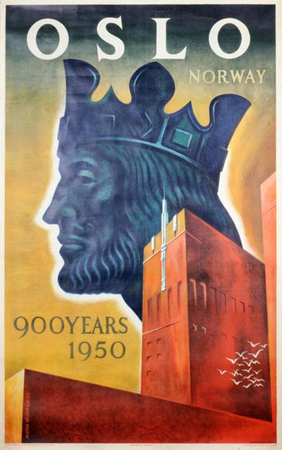 Oslo Norway 900 Years 1950 original poster designed by Michaelsen, M. Ottar (1915-)