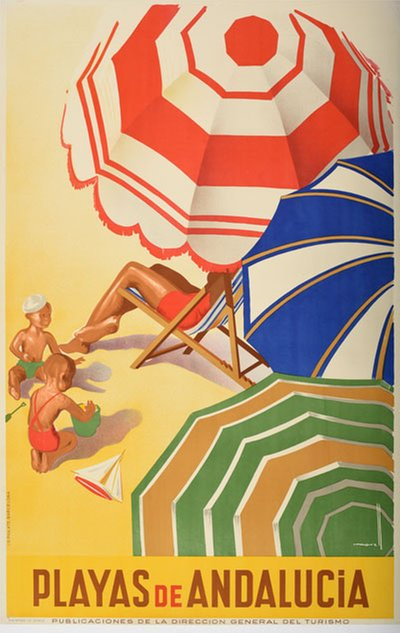 Playas de Andalucia - Spain original poster designed by Morell Macías, Josep (1899-1949)
