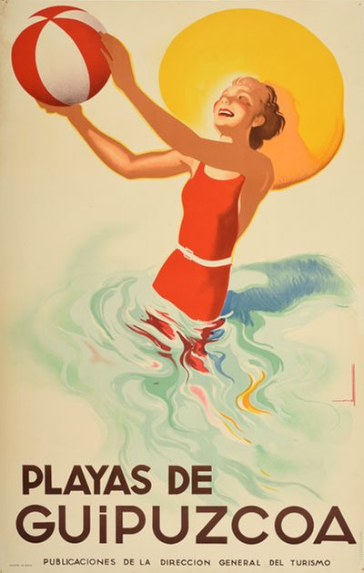 Spain - Playas de Guipuzcoa original poster designed by Morell Macías, Josep (1899-1949)