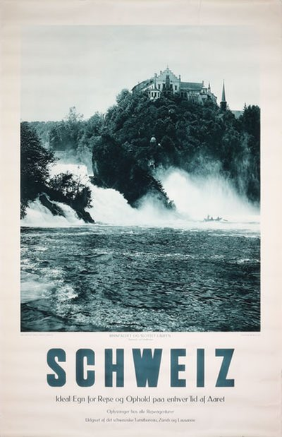 Rhine Falls Switzerland - Schweiz original poster designed by Photo: Wehrli