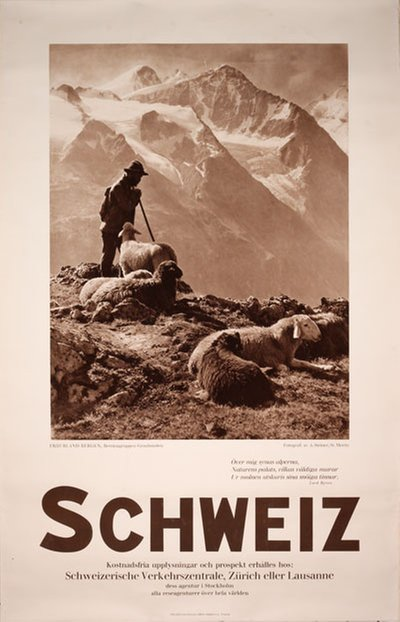 Bernina Range Switzerland - Schweiz original poster designed by Photo: Steiner Albert, St. Moritz