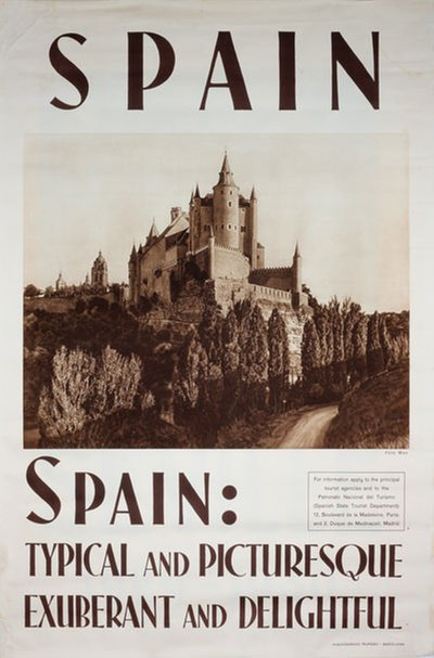 Spain Typical and Picturesque original poster designed by Photo: Mas