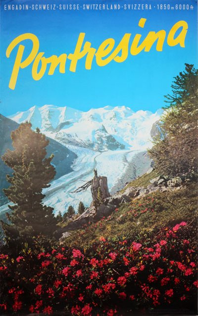 Pontresina Engadin Schweiz original poster designed by Photo: Bartholome SCHOCHER