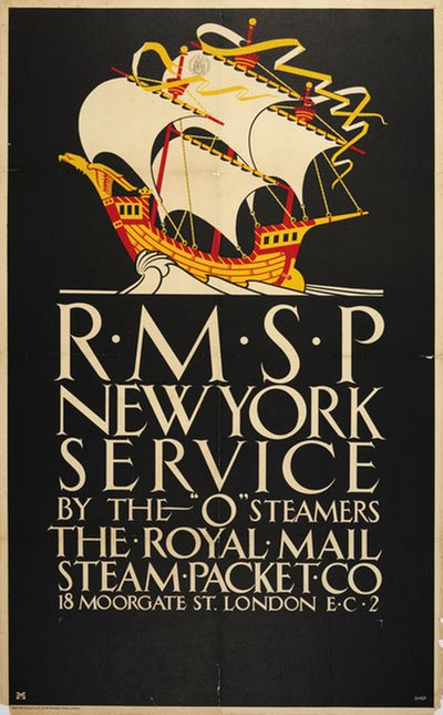 R.M.S.P New York Service original poster designed by Shepherd, Charles (Shep) (1892-)