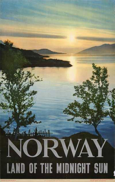 Norway The Land of Midnight Sun 1950 original poster designed by Photo: Ålgård