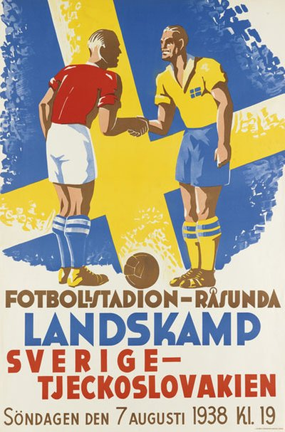 Sweden - Czechoslovakia Soccer Football Poster original poster designed by Myhrman, Evert (1907-1983)