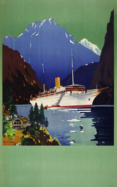 Meteor Norway Fjords original poster designed by Mason, Frank Henry (1876-1965)