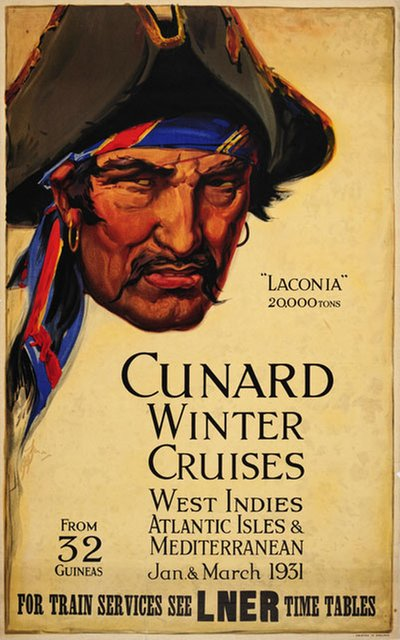Cunard Winter Cruises West Indies 1931 original poster designed by A H Frack?