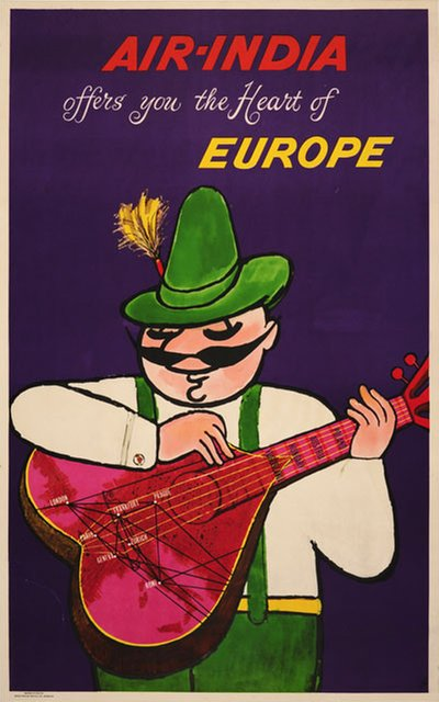 Air India - Europe original poster designed by J B Cowasji