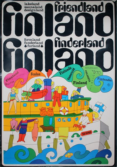 Finland Friendland Finderland original poster designed by Pirjo Lausamo