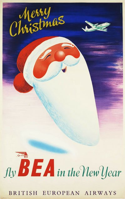 Merry Christmas - fly BEA in the New Year - British European Airways original poster designed by Szomanski, Wladyslaw R. (1911-1996)