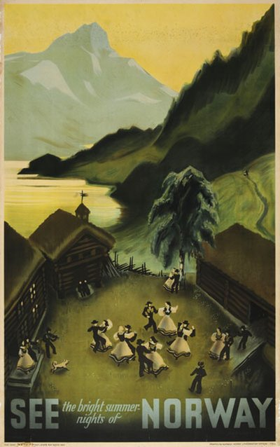 See the Bright Summer Nights of Norway original poster designed by Damsleth, Harald (1906-1971)
