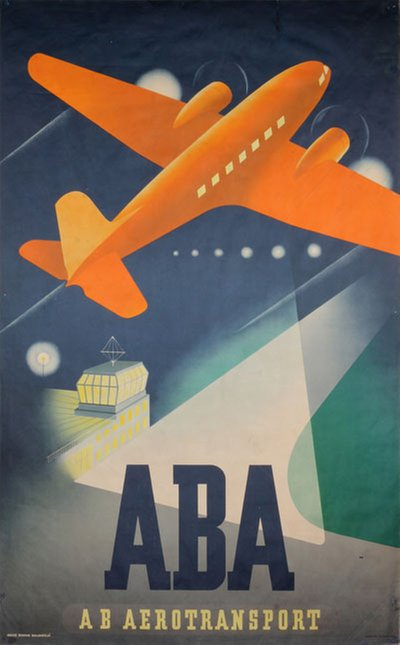 ABA - AB Aerotransport  original poster designed by Beckman, Anders (1907-1967)