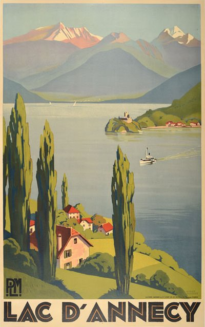 Lac D'Annecy - France original poster designed by Broders, Roger (1883-1953)
