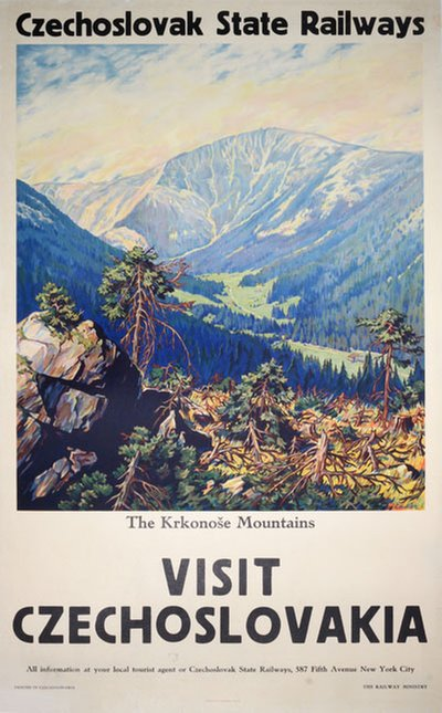 Czechoslovak Stae Railways The Krkonose Mountains original poster designed by Endler