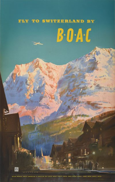 Fly to Switzerland by BOAC original poster designed by Wootton, Frank (1914–1998)