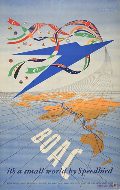 B.O.A.C it's a small world by Speedbrid original poster designed by Henrion, Frederic Henri Kay (1914-1990)