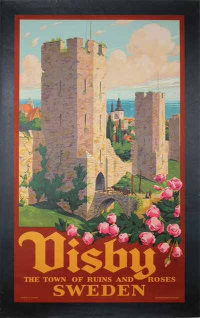 Visby - The Town of Ruins and Roses - Sweden original poster designed by Ivar Gull