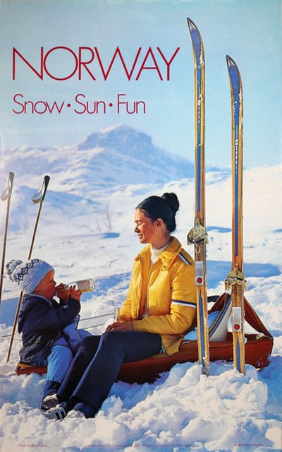 Norway Snow Sun Fun 1973 original poster designed by Photo: Bjørn Pahle