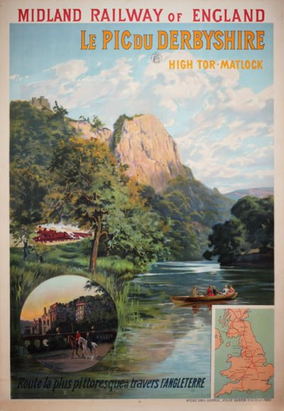 Midland railway of England. Le pic du Derbyshire High original poster designed by Quinton, Clément (Charles-Henri) (1851-1921)