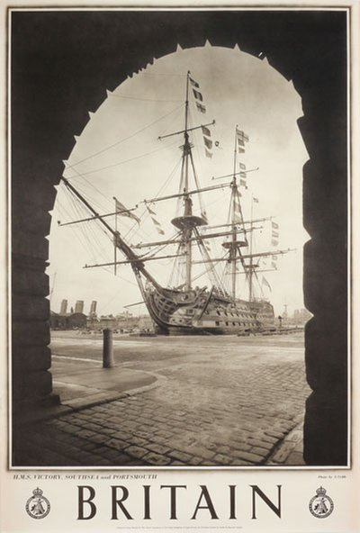 Britain - HMS Victory Southsea Portsmouth original poster designed by Photo: S. Cribb