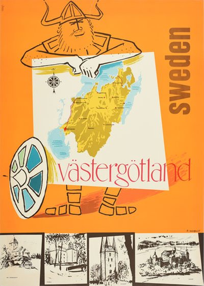 Sweden Västergötland original poster designed by Tn. Sundquist