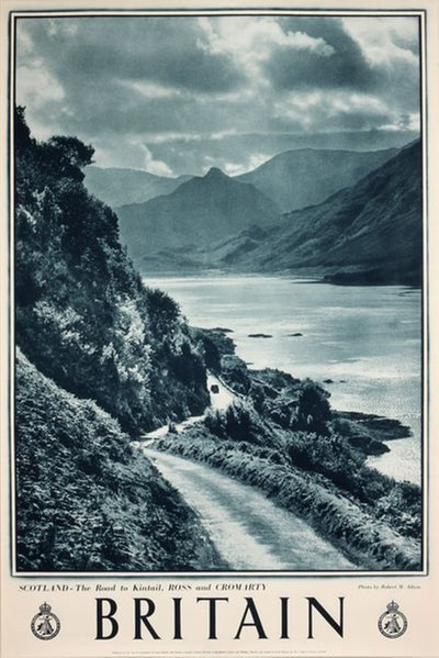 Britain - Scotland Road to Kintail, Ross and Cromarty original poster designed by Photo: Robert M. Adam