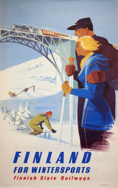 Finland for Winter Sports original poster designed by Hänninen, Jaska (1921-1999)