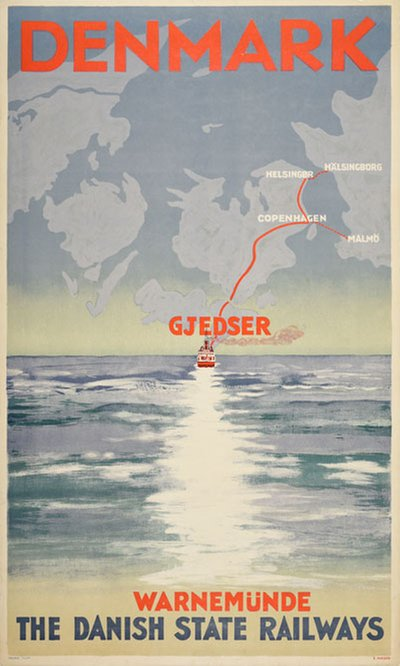 Denmark Warnemünde-Gjedser original poster designed by Holm, Thomas