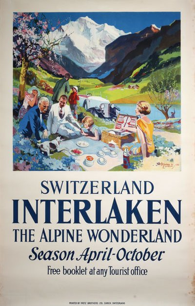 Switzerland Interlaken The Alpine Wonderland original poster designed by Elcock, Howard K.