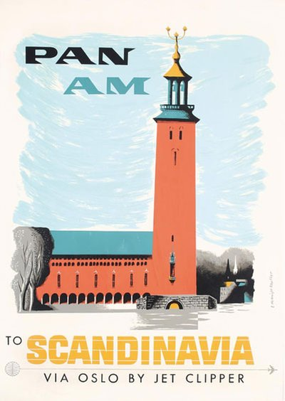 Pan Am Scandinavia by Jet Clipper  original poster designed by Kauffer, Edward McKnight (1890-1954)