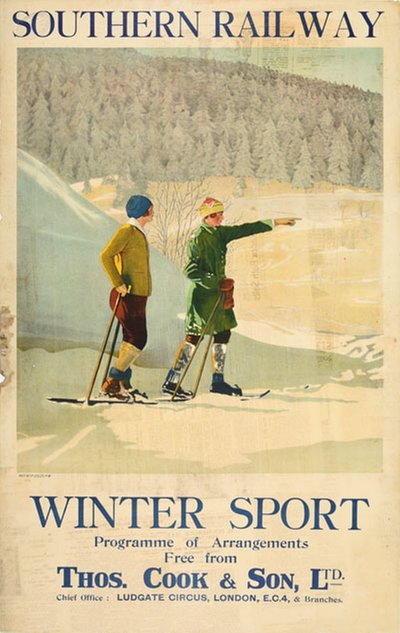 Southern Railway Winter Sport Thomas Cook original poster