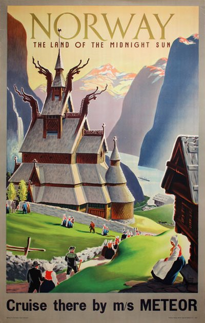 Norway - the Land of the Midnight Sun - Meteor original poster designed by Ivar Gull