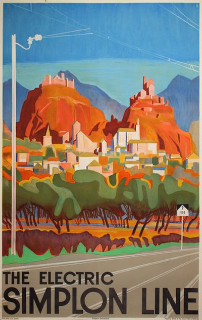 The Electric Simplon Linie - Switzerland original poster designed by Baumberger, Otto (1889-1960)